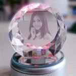 Crystal 3D Photo Bundar Diamond